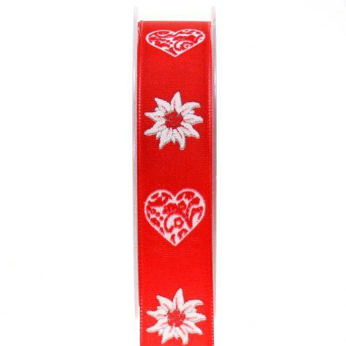 Dekorationsband mit Edelweiß Rot 25mm 20m