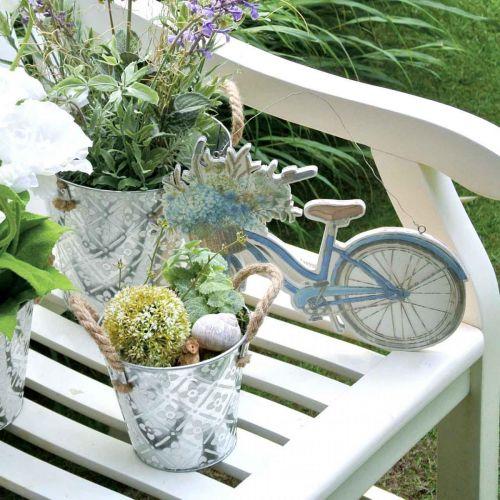 Dekoschild Holz Fahrrad Sommerdeko Schild zum Hängen Blau, Weiß 31×25cm