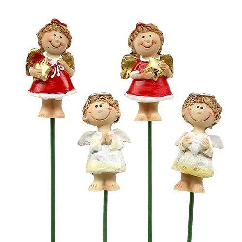 Dekostecker engel rot wei 4 5cm l28cm 8st preiswert for Dekostecker weihnachten