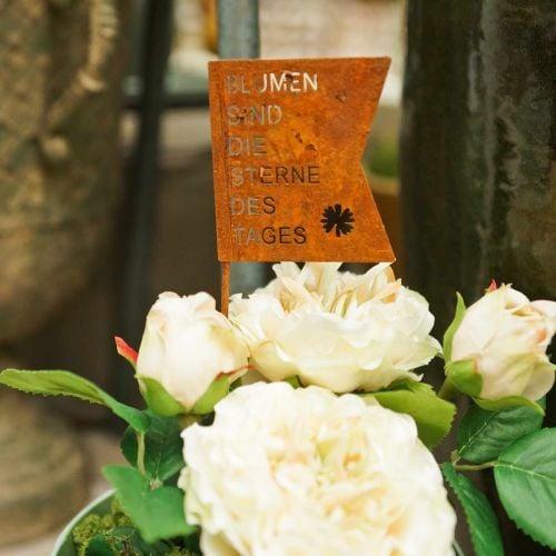 """Dekostecker """"Blumen sind die Sterne des Tages"""", Blumendeko Edelrost L32,5cm 3St"""