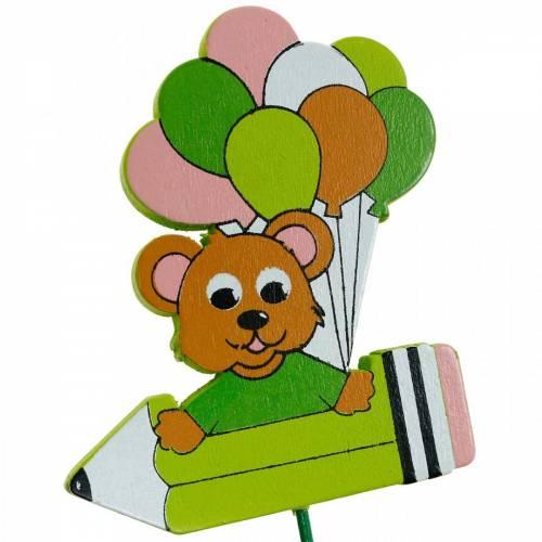 Dekostecker Stift mit Teddy und Ballons Blumenstecker Sommerdeko Kinder 16St