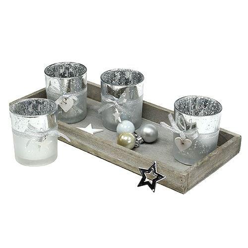 Dekotablett Mit 4 Teelichtgläsern Silber Preiswert Online Kaufen