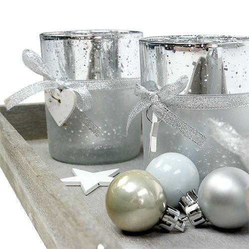 dekotablett mit 4 teelichtgl sern silber preiswert online kaufen. Black Bedroom Furniture Sets. Home Design Ideas