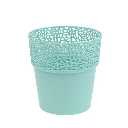 Dekotopf Plastik Mint Ø13cm, H13,5cm 1St