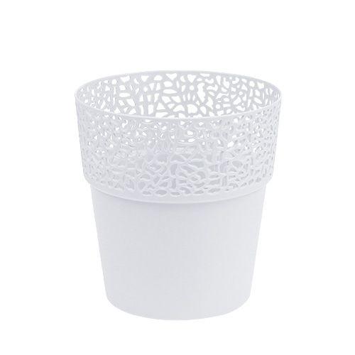 Dekotopf Plastik Weiß Ø13cm H13,5cm 1St