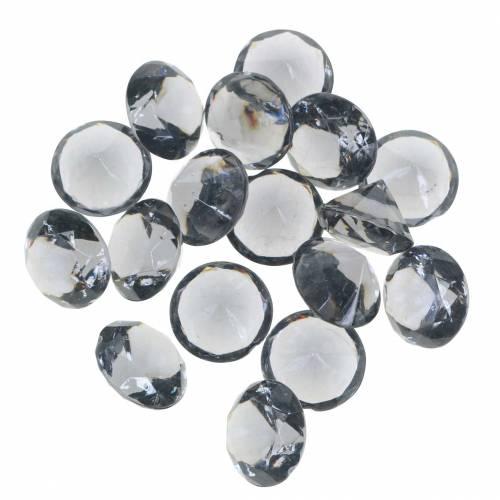 Dekosteine Diamant Acryl Anthrazit Grau Ø1,8cm 150g für Tischdekoration