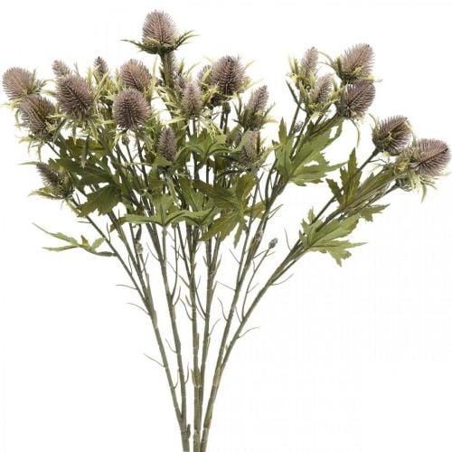 Distel künstlich Lila Dekozweig 10 Blütenköpfe 68cm 3St
