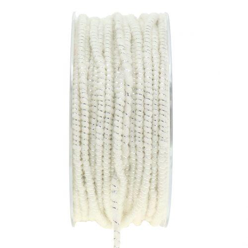 Dochtfaden Glamour Weiß/Silber mit Draht 33m