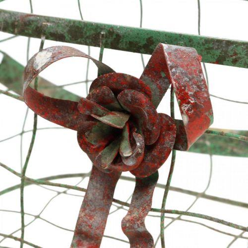 Henkeltasche, Metallkorb, Drahtgefäß, Pflanzkorb L28,5cm H33cm