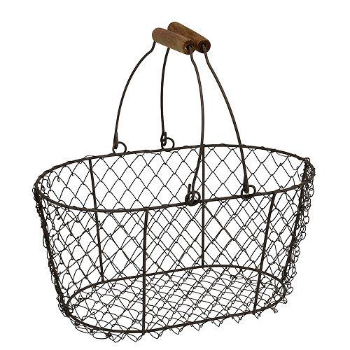drahtkorb oval mit henkel 27x16 5cm h13 5cm braun preiswert online kaufenn. Black Bedroom Furniture Sets. Home Design Ideas