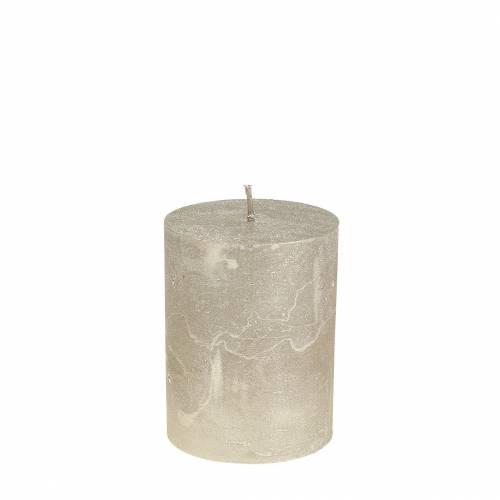 Durchgefärbte Kerzen Platin 70x80mm 4St