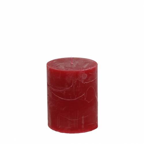 Durchgefärbte Kerzen Dunkelrot 70x80mm 4St