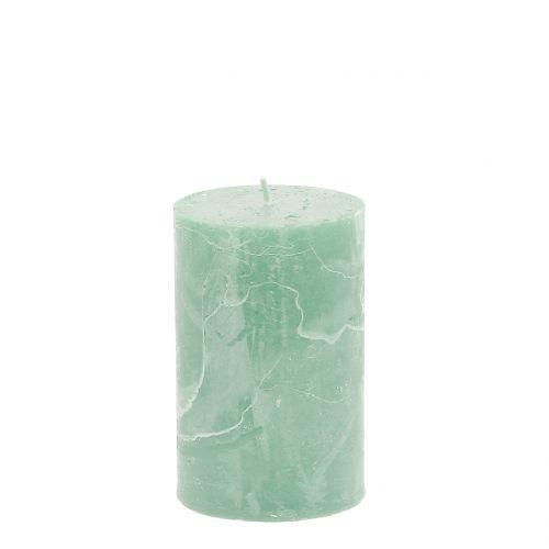 Durchgefärbte Kerzen Hellgrün 60x100mm 4St