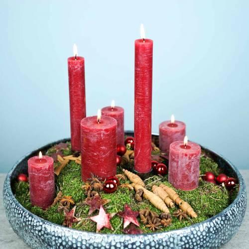 Durchgefärbte Kerzen Dunkelrot unterschiedliche Größen