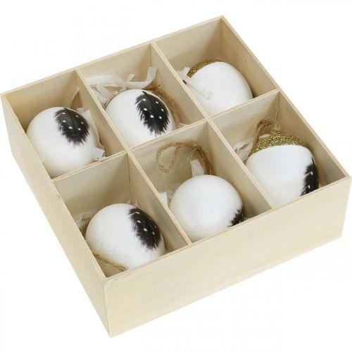 Edle Eier zum Hängen, Frühling, Ostereier mit Feder-Motiv, Dekoeier in Holzbox, Osterdeko 6St