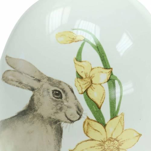 Ei Keramik Weiß mit Hasenmotiv Ø12,5cm H16cm 2St