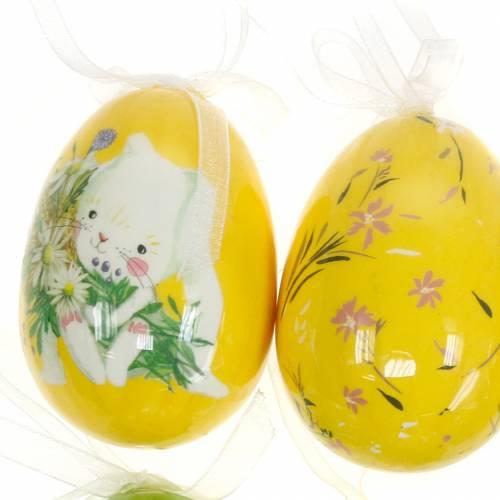 Deko Osterstrauß Ei zum Hängen Gelb, Grün Sortiert H7cm 6St