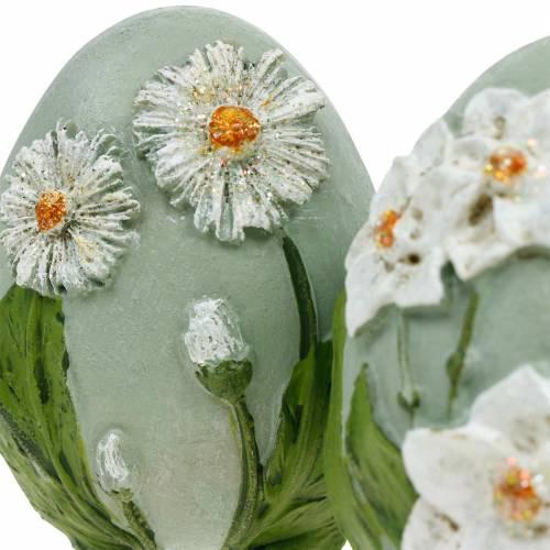 Ostereier mit Blumen-Motiv Gänseblümchen und Narzissen Blau, Grün Gips Sortiert 2St