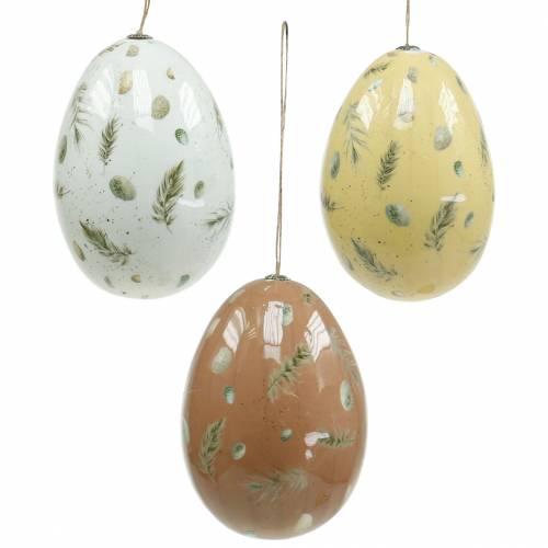 Ostereier zum Hängen mit Motiv Eier und Federn Weiß, Braun, Gelb Sortiert 3St