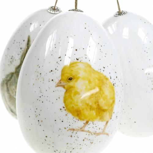 Ostereier zum Hängen mit Tier-Motiven Küken, Vogel, Hase Weiß Sortiert 3St