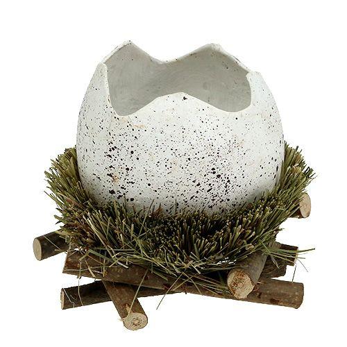 Ei im Nest Ø9cm H10cm Weiß 4St