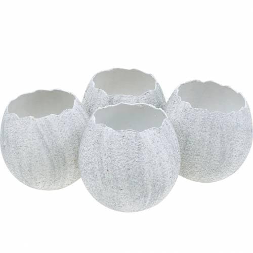 Eierschale zum Bepflanzen, Osterdeko, Übertopf, Deko-Ei Weiß Silbern 4St