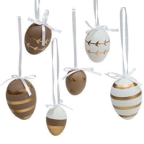 Eier zum Hängen Weiß, Braun 4cm - 6cm 12St