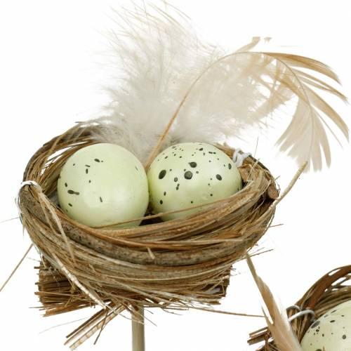 Dekostecker Vogelnest, Osterdeko, Nest mit Eiern 23cm 6St