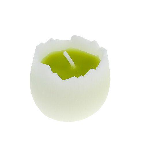 Eikerze 4cm Weiß-Grün 3St