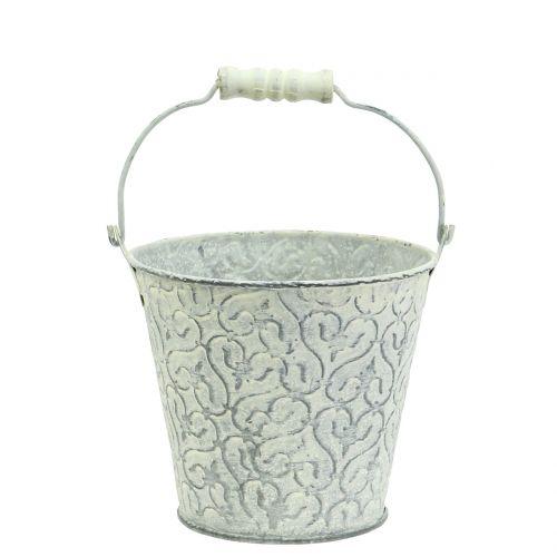 Zinkeimer mit Dekor Crème gewaschen Ø11cm H10,5cm