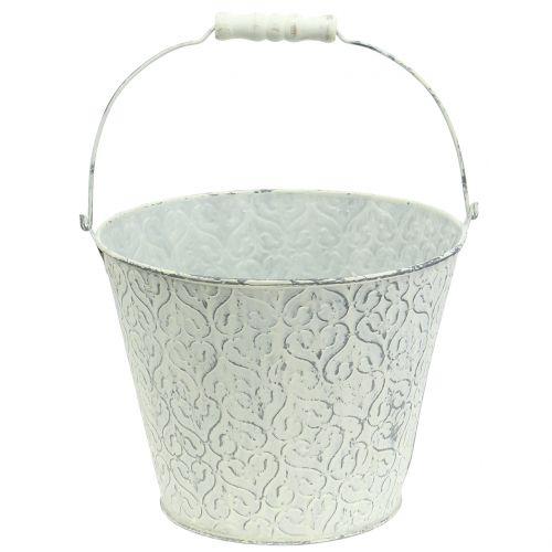Zinkeimer mit Dekor Crème gewaschen Ø22cm H17cm