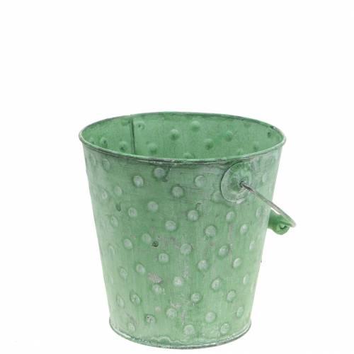 Deko-Eimer Pflanzgefäß mit Punkten Metall Grün gewaschen Ø13cm H12,5cm