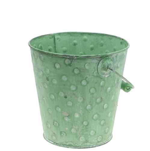Deko-Eimer Pflanzgefäß mit Punkten Metall Grün gewaschen Ø16cm H15,5cm