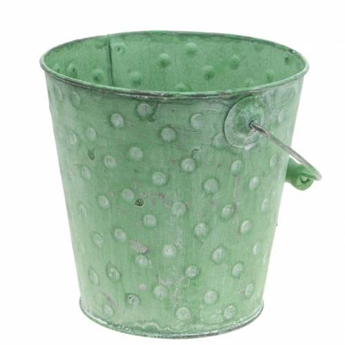 Deko-Eimer Pflanzgefäß mit Punkten Metall Grün gewaschen Ø18,5cm H18cm