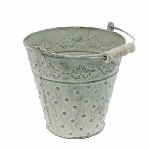 Deko Eimer Metall Weiß gewaschen Ø18,5cm Pflanzgefäß gepunktet Metalldeko