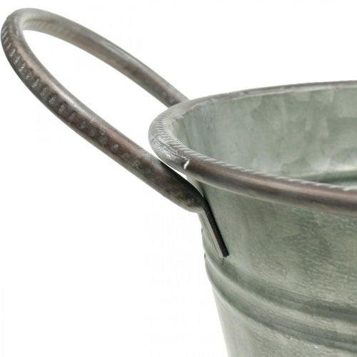 Pflanzwanne, Metallgefäß mit Griffen, Deko-Schüssel L32cm H24cm