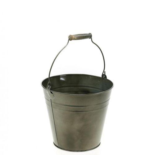 Deko-Eimer mit Henkel, Gartendeko, Pflanztopf, Metallgefäß Ø16,5cm H15cm