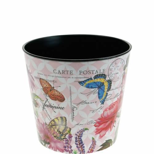 Übertopf Blumenmuster Kunststoff 10,5cm Blumentopf Sommerdeko
