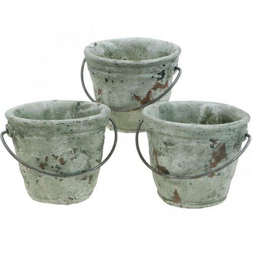 Eimer zum Bepflanzen, Keramik-Gefäß, Eimer-Deko Antik Optik Ø11,5cm H10,5cm 3St