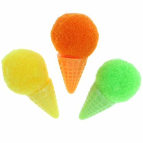 Eiscreme in der Waffel künstlich Grün, Gelb, Orange Sortiert 3,5cm 18St