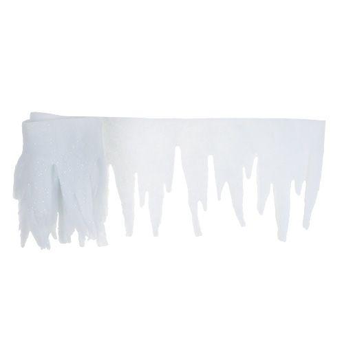 Eiszapfen Deko Weiß mit Glitter 2m