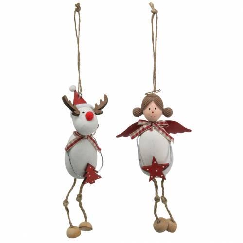Weihnachtsfiguren Engel und Rentier zum Hängen Weiß, Rot Ø4,7cm H20/18cm 2St