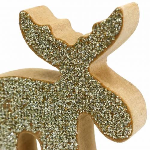 Streudeko Weihnachten Elch Holz Golden, Glitzer 5×5,5cm 12St