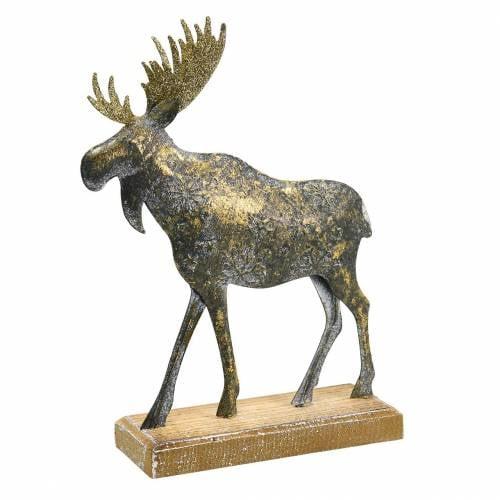 Weihnachtsfigur Elch Golden Antik-Optik Metall 21×14,5cm