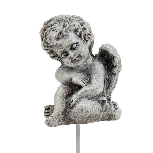 Engel Grau als Stecker 5cm - 5,5cm 8St