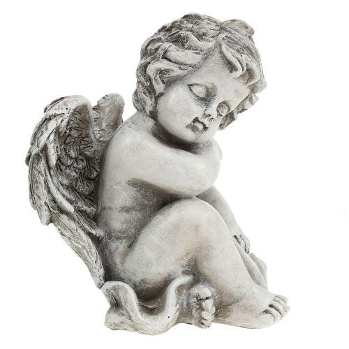 Gedenkfigur schlafender Engel Grau 16cm 2St