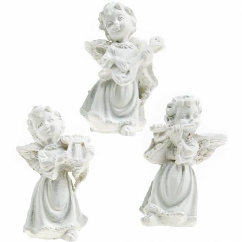 Deko-Engel mit Instrumenten Weiß H4,5cm 9St