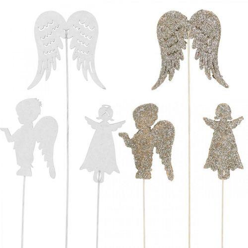Adventstecker Engel, Flügel zum Stecken, Holzengel, Weihnachtsdeko Natur, Weiß, Goldglitter 18St