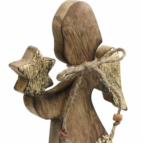 Holzengel mit Stern Natur, Golden Mangoholz H20,5cm