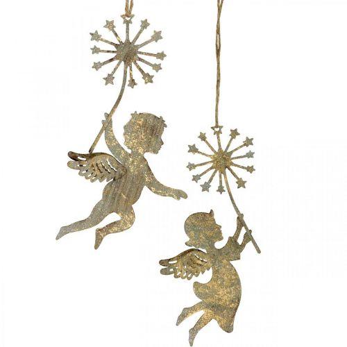Engel mit Pusteblume, Weihnachtsdeko, Dekoanhänger, Metalldeko Golden Antik-Optik H16/15cm 4St
